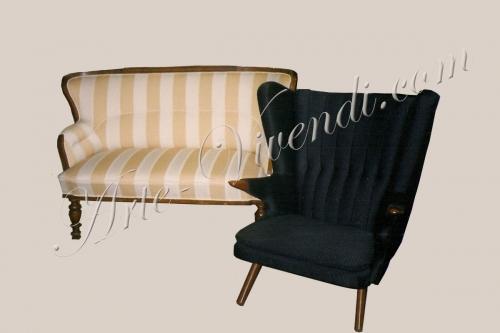 Ancien canapé & fauteuil BAMSE de Hans J. Wegner noir
