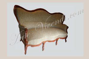 Canape Louis Philippe refait completement avec tissu fauxuni clair