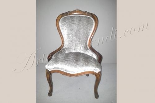 Chaise bois avec tissu couleur blanc cassé gauffré