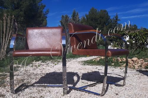 deux chaises dans la nature recouvert en cuir couleur cognac
