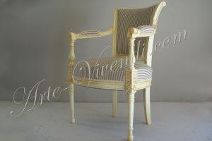 Ancien chaise completement refait habillage tissu rauyres écru et sable