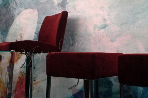 Chaise haute couvert velour rouge