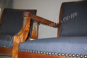 chaise empire ornement métal habillage tissu noir