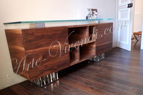 Design moderne Meuble bureau bois massif couleur bois marron pied metal plateau verre