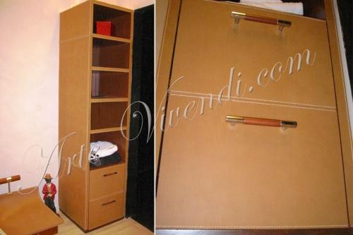Colonne pour chambre en cuir et bois couleur cognac