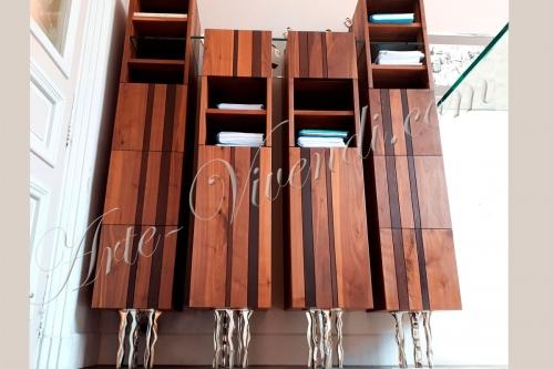 Quatre colonnes en bois massif design sur mesure pied metal