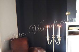 Tenture mural bandes verticale couleurs noir gris fonce