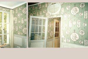 Tenture mural chambre hotel couleurs vert et blanc