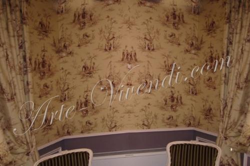 Chambre hotel tissu tendu toile de jouy couleur beige et violet