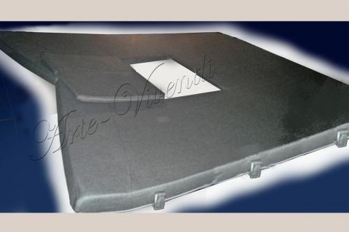 Matelas bain de soleil bateau avec ouverture hublot mousse etanche couleur gris foncee
