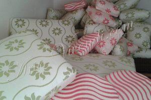 Coussins deco extérieur vert et blanc rose et blanc
