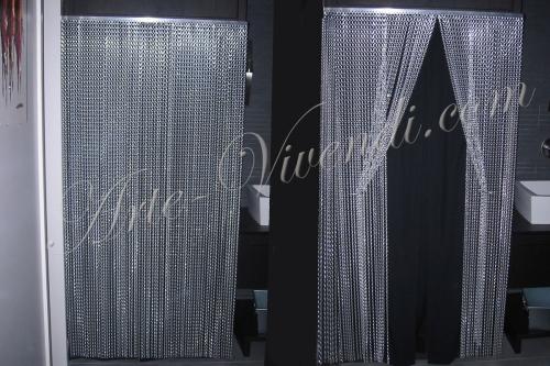 Rideaux alu en chene pour intérieur couleur noir et argenté