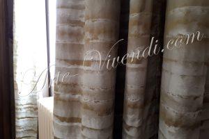 Rideaux double couleur vert beige soie contemporain