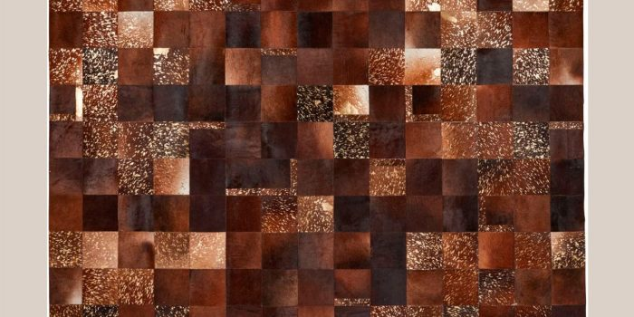 Tapis design peau de vache multi couleur marron